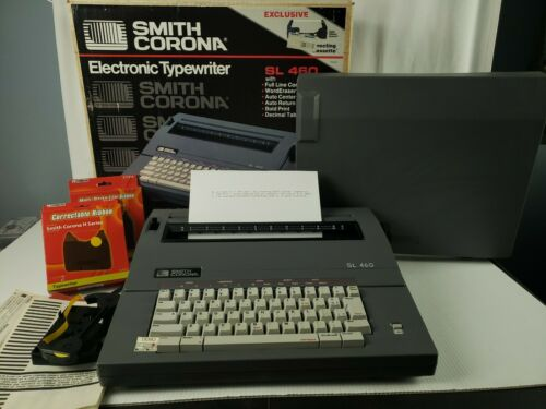 Vintage Smith Corona Portable Electric Type Writer SL 460 With Cover - Tested