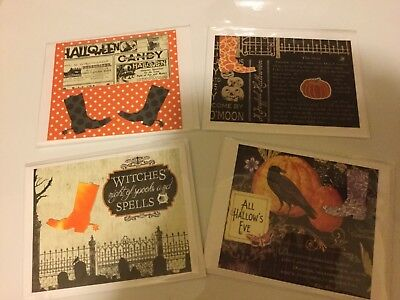 Halloween Greeting ~ Blank Note Cards ~ Set of 4 Handmade Western Flair New
