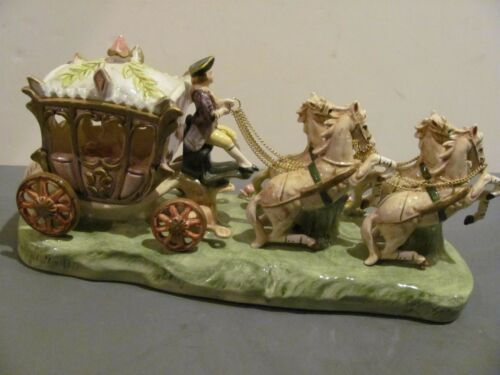 """Vintage Capodimonte Porcelain Lady in Carriage w/ 4 Horses Figurine 14"""" Signed"""