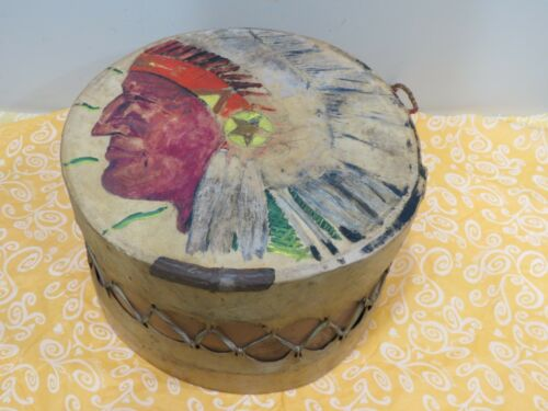 Antique Vintage Native American Rawhide Drum w/ Painted Chief Image
