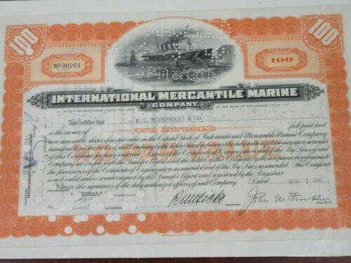 STOCK CERTIFICATE INTERNATIONAL MERCANTILE MARINE Co 1941 100 Shares Lot#1699