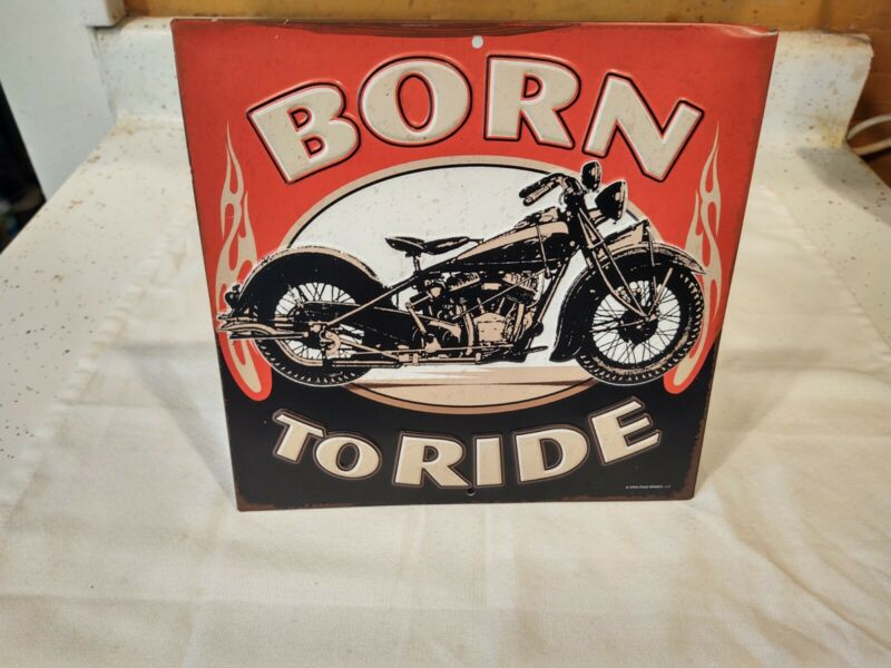 """Born To Ride Embossed Tin Sign 9"""" x 9"""" Collectible"""