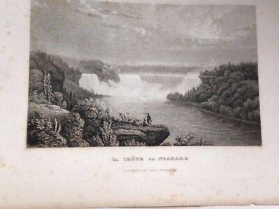 2 Antique Engravings Harper's Ferry & La Chute du Niagara 1850's free shipping
