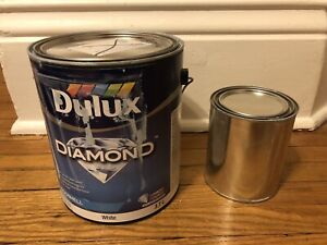 Full cans of paint, grey blue
