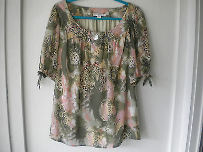 Dressbarn Pink Green Gold Polyester Lined Top 14-16 Puff Short Sleeves Perfect
