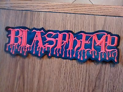 BLASPHEMY,SEW ON RED EMBROIDERED LARGE BACK PATCH