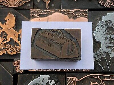 Rare Antique Vtg Wood Doctors Bag Letterpress Print Type Cut Ornament Block