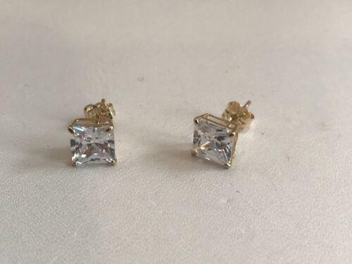 2 CARAT  14K SOLID YELLOW GOLD STUD EARRINGS W/ PRINCESS FLAWLESS LAB DIAMONDS