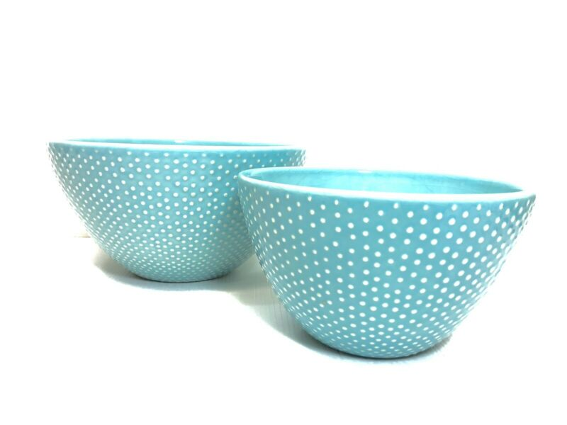 "Primagera Pin Dot Turquoise Hobnail 10"" & 8"" Mixing/Serving Bowl"