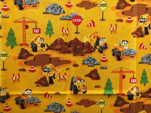 "Riley Blake Designs/Caterpillar CAT construction equipment fabric piece 43""x36"""