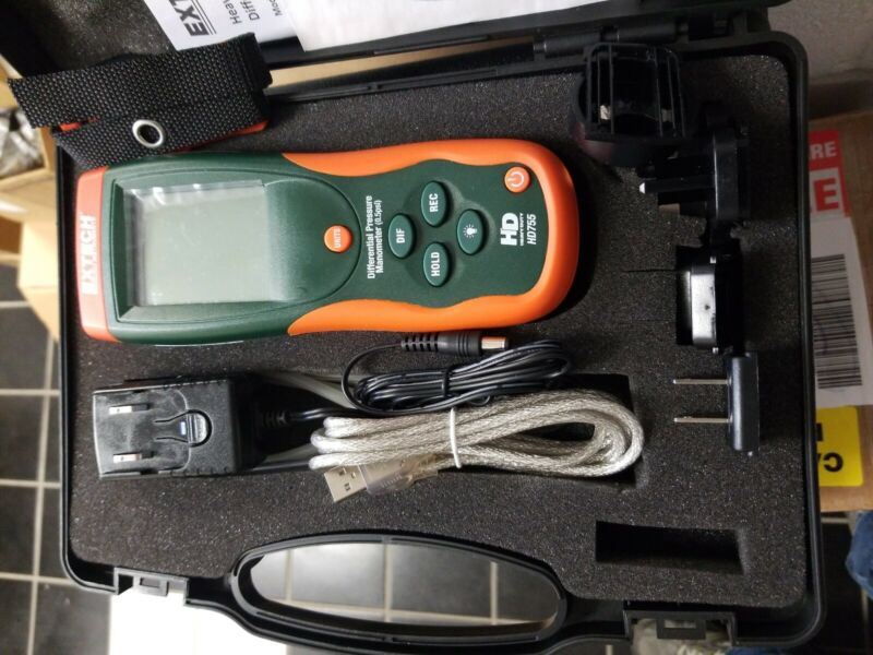 Extech HD755  Heavy Duty Digital Differential Pressure Manometer never used