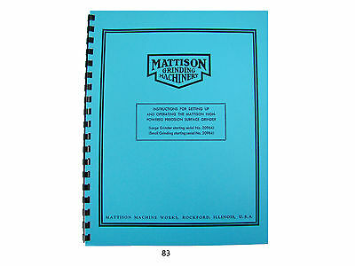 Mattison Surface Grinders Operation Setup Manual 83