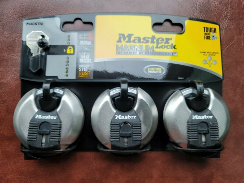 3 Master Lock M40XTRI Magnum 2-3/4 in Wide Stainless Steel Distressed Package