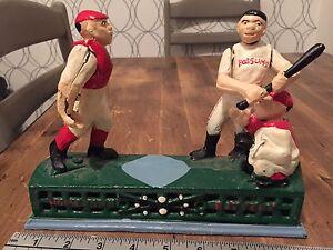 Vintage cast iron baseball bank