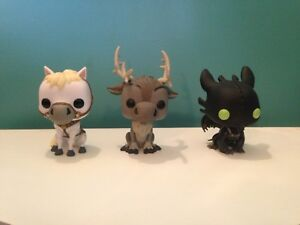Disney and Dreamworks Funko Pop Toothless, Sven and Maximus