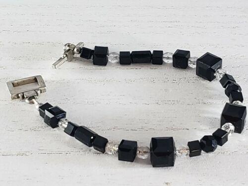 Gorgeous Black & Clear Square Bead Crystal Toggle Clasp Bracelet UNIQUE