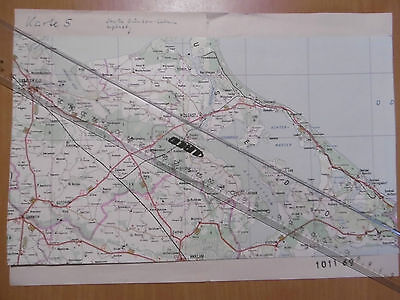 MdI Volkspolizei Korrekturvorlage Karte Greifswald/ Usedom Reg.1011 69