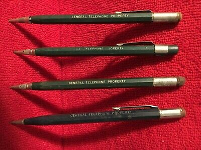 Vintage 4 Mechanical Lead Pencils Marked General Telephone Property Good -