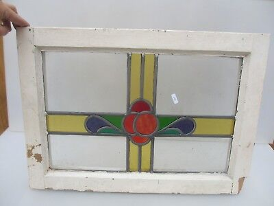 Vintage Stained Glass Window Panel Architectural Antique Old Floral Art Nouveau