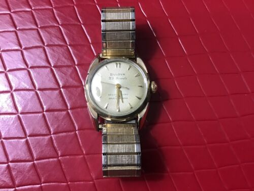 Mens Vintage 1955 Bulova 23 Jewel Self-Winding Sunburst Wristwatch