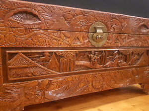 LARGE Hand-carved solid timber vintage Chinese storage chest Oakleigh Monash Area Preview
