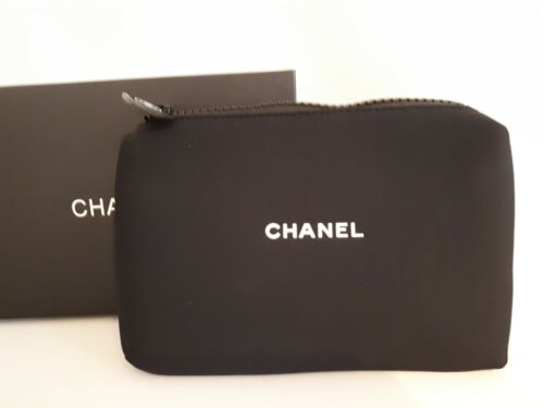 Gift from Chanel Beaute Black Neoprene Clutch Cosmetic Bag New with Box