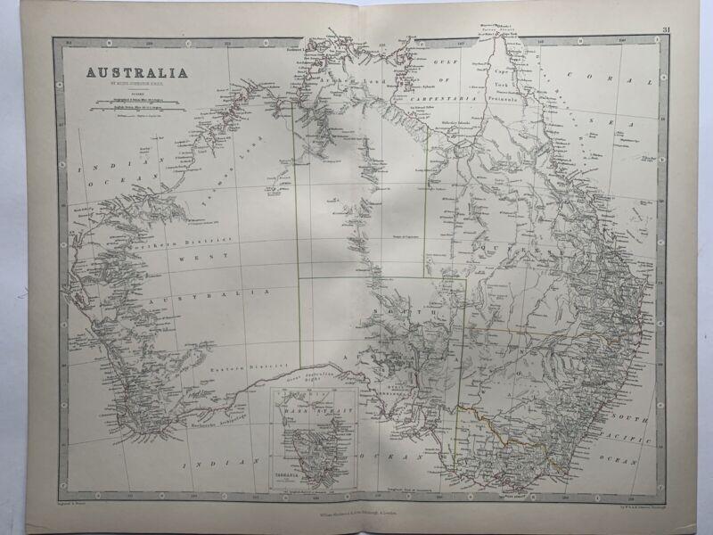 1868 Australia Original Hand Coloured Antique Map by Johnston