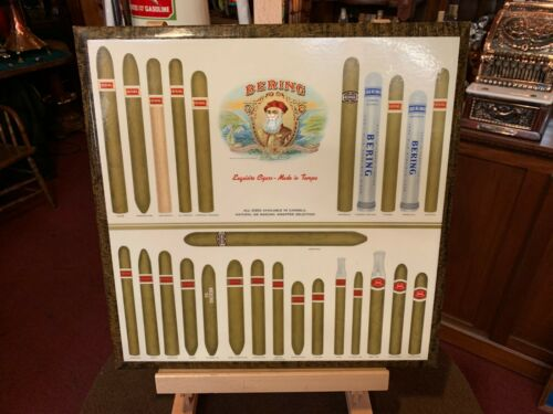 """Vintage BERING Cigar Retail Counter Display Sign  """"Watch Video"""""""