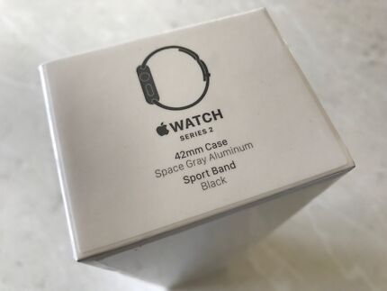 Apple Watch Series 2 42mm Space Grey, Black Band BRAND NEW Never