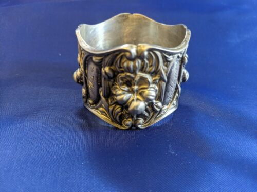 """Antique Victorian Floral Sterling Silver Napkin Ring """"Nathan"""" """"May 16th, 1904"""""""