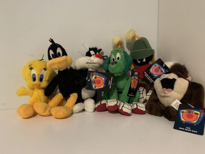 """Vintage Looney Tunes Warner Bros. Mini 6"""" Bean Bag 1999 Lot Of 6, 5 w/tags"""