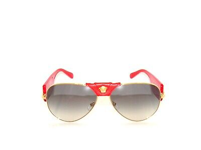 Versace VE2150Q 2150Q 2150 1002/11 Red Gold Grey Sunglasses