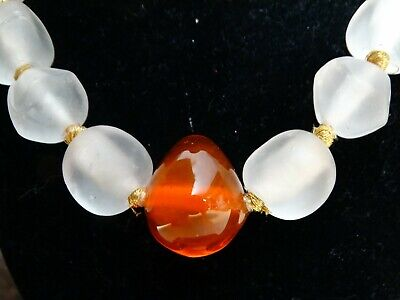 - VTG Chunky Frosted Opaque White Clear Bead Amber Colored Center Glass Necklace