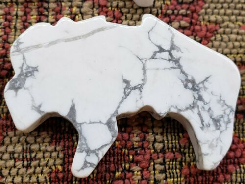 Howlite Stone Buffalo Fetish LOT Hand Cut Fetish For Wire Wrapping LOT OF 11 PC