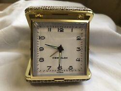 Vintage Westclox Windup Folding Travel Alarm Clock - Made in Taiwan