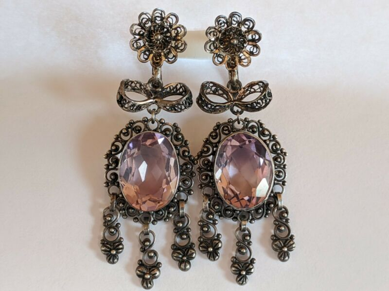 Victorian European Spun Silver 20Cts Genuine Amethyst Girandole Dangle Earrings