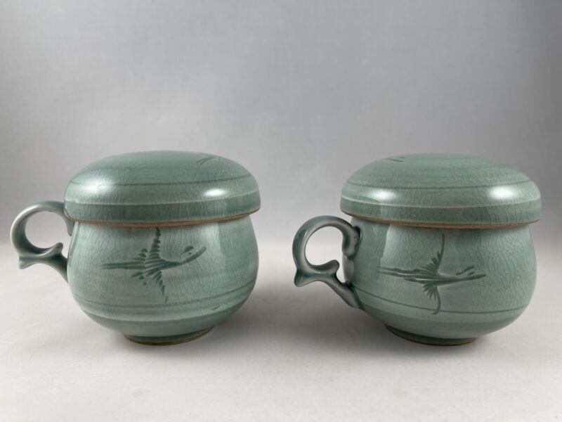 2 Korean Celadon Tea Cups Crane Design 3 Piece Tea Infuser Set Signed Stamped