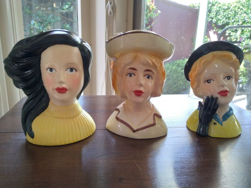 TRIO OF BEAUTIFUL PORCELAIN CONTEMPORARY LADY HEAD VASES