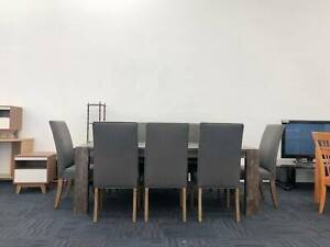 TODAY DELIVERY 9 pcs MODERN WOOD dining table and FABRIC chairs