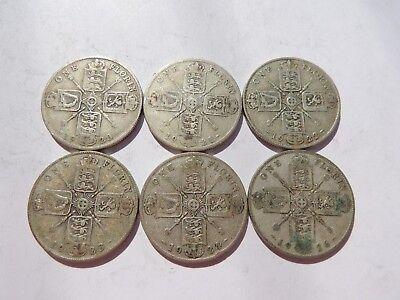 6 GEORGE V SILVER FLORIN COINS (1920 - 1926) - REF 168