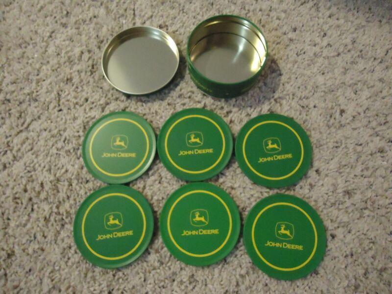 John Deere Metal Coasters & Storage Tin Set - 6 Coasters