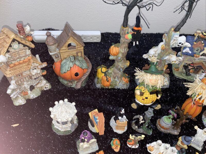 35 plus Miniature Halloween Village Ceramic