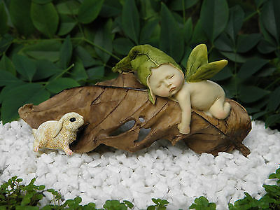 Miniature Figurine FAIRY GARDEN ~ Sleeping Leaf Fairy Baby & Baby Bunny Rabbit