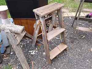 Rustic little step ladder with light yellow paint Joyner Pine Rivers Area Preview
