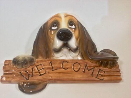 Ceramic Bassett hound welcome sign