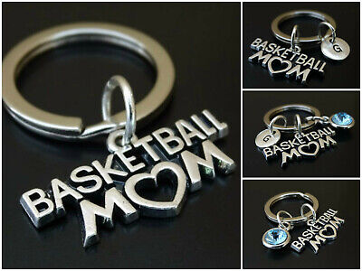 Personalized Basketball Keychains (Basketball Mom Keychain Initial Birthstone Charm Personalized Mother)
