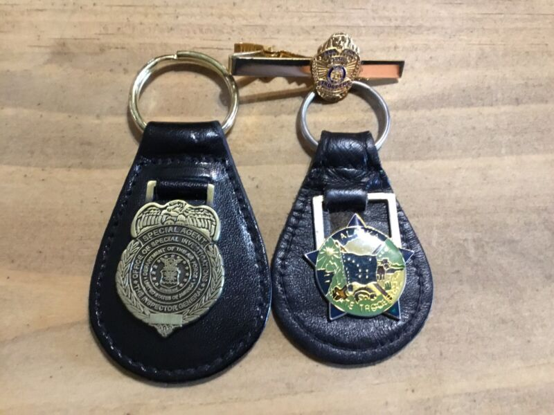 2 Key-rings, 1 Tie Clasp , Alaska State Troopers and US Air Force OSI