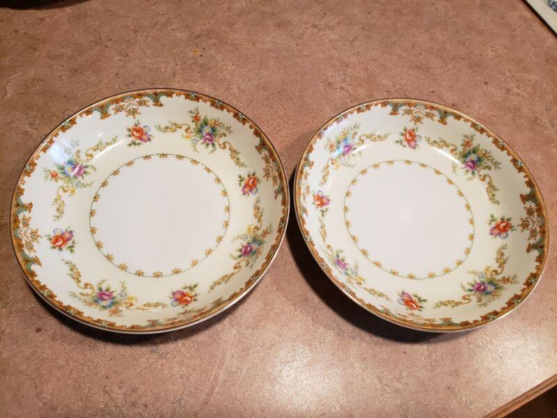 """Empress China Japan Soup/Salad Bowls 7-3/8"""" Gold Trim"""