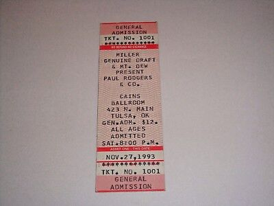 PAUL RODGERS of BAD COMPANY 1993 UNUSED CONCERT TICKET CAINS BALLROOM  TULSA OK
