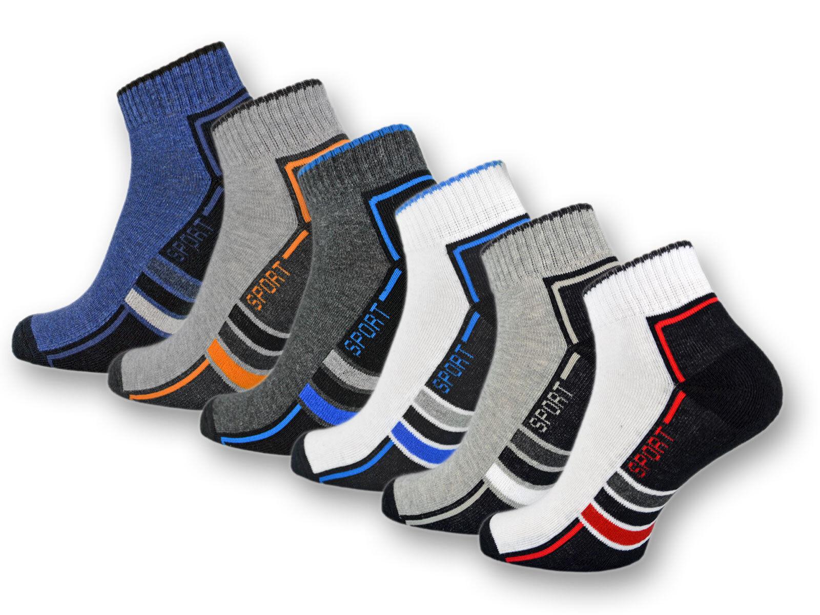 6 oder 12 Paar Sport Sneaker Socken Herrensocken mit verstärkter Frotteesohle